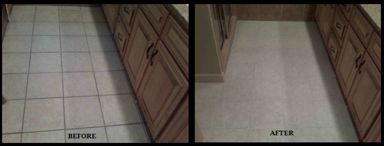 Kitchen Grout Repair Before and After